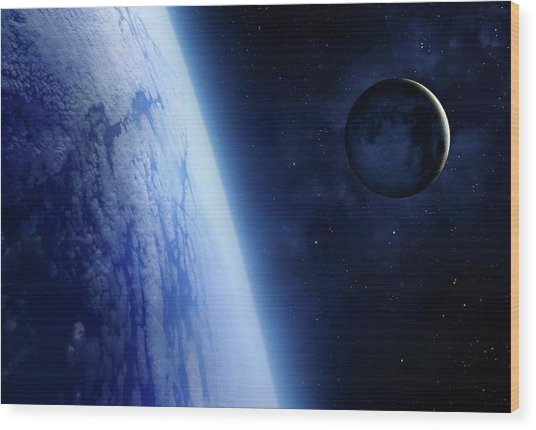 Crescent Moon From Earth Orbit Wood Print