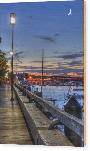 Crescent Moon Over Newburyport Harbor Wood Print