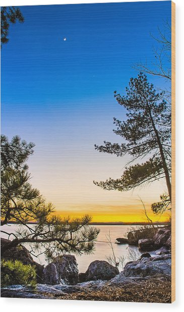 Crescent Moon Sunset Wood Print