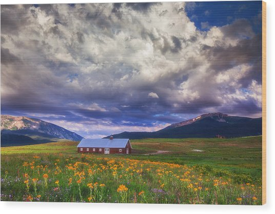 Crested Butte Morning Storm Wood Print