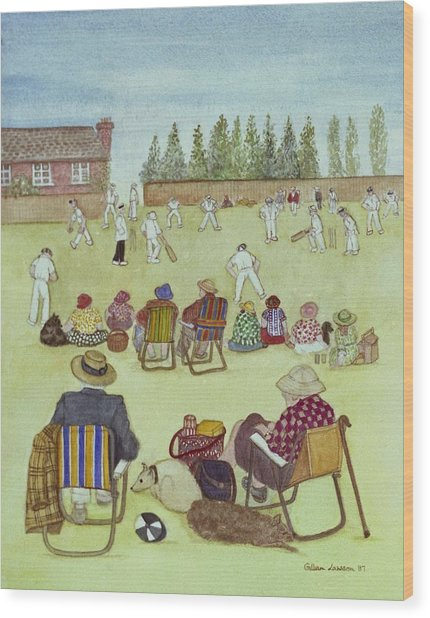 Cricket On The Green, 1987 Watercolour On Paper Wood Print