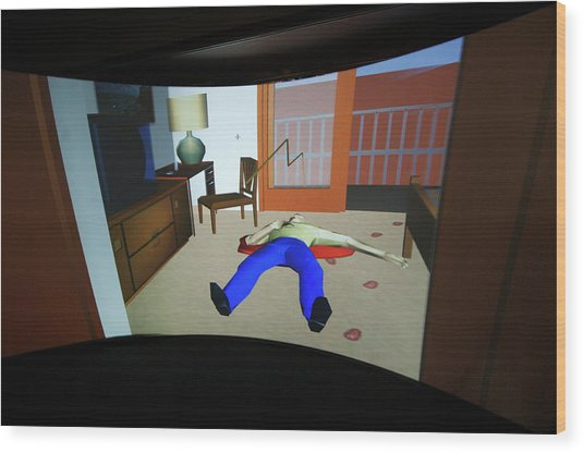 Crime Scene Reconstruction Wood Print by Louise Murray/science Photo Library