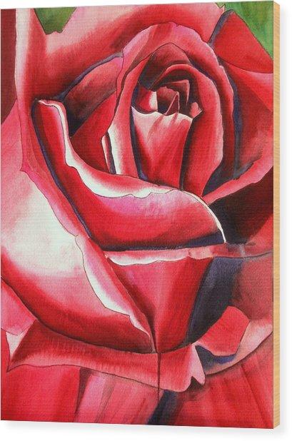 Crimson Glory Rose Wood Print by Sacha Grossel