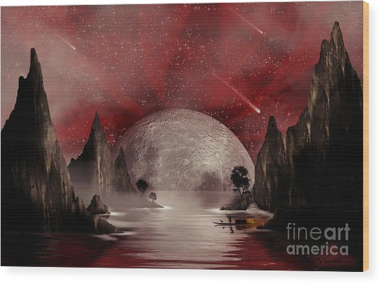 Crimson Night Wood Print