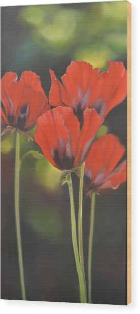 Crimson Petals Wood Print