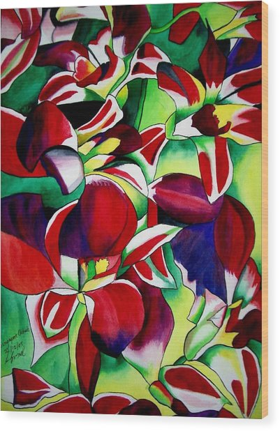Crimson Tropical Singapore Orchids Wood Print by Sacha Grossel