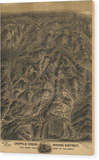 Antique Map - Cripple Creek Mining District Birdseye Map - 1895 Wood Print
