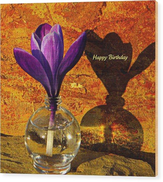 Crocus Floral Birthday Card Wood Print