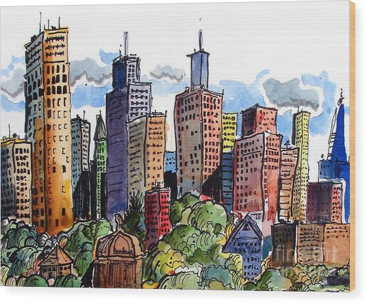 Crooked City Wood Print