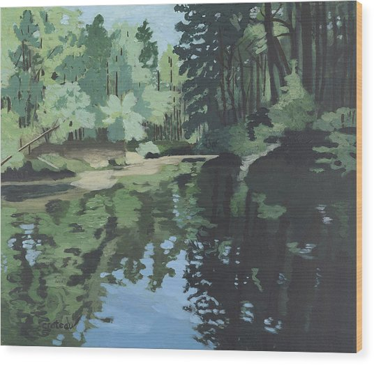 Wood Print featuring the painting Crooked River by Jane Croteau