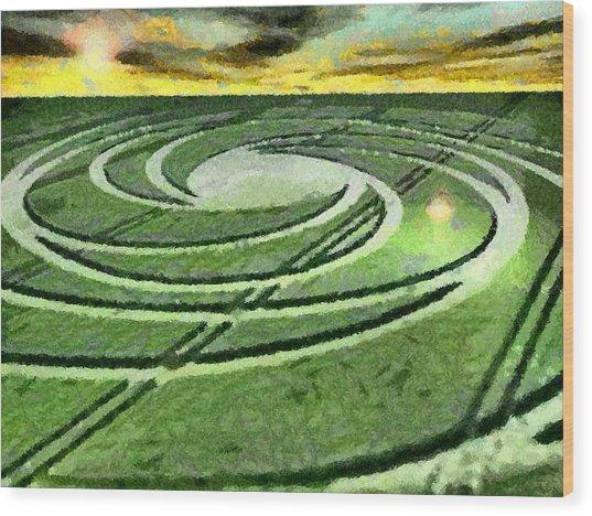 Crop Circles In Field Wood Print