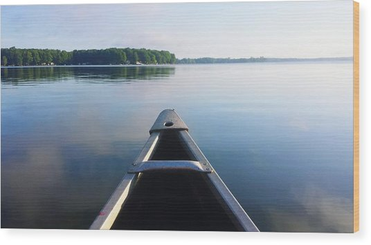 Cropped Image Of Boat Sailing On River Wood Print by Tania Wood / Eyeem
