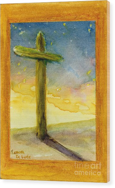 Cross At Dawn In Blue And Gold Sunrise Wood Print