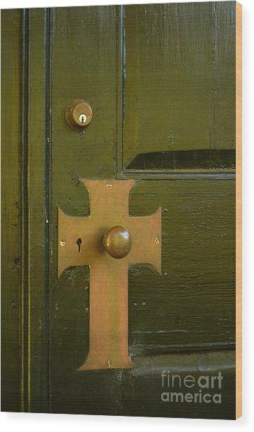 Cross Door Plate Wood Print