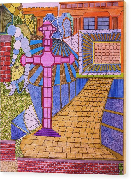 Cross On Blue Wood Print