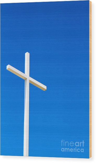 Cross On Blue Sky Wood Print