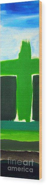 Green Cross On Hill Wood Print