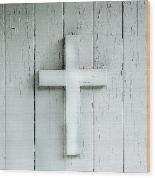 Cross On Holy Angels Sugar Island Michigan Wood Print