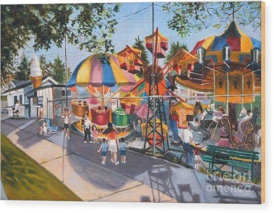 Crossbay Amusement Park Wood Print