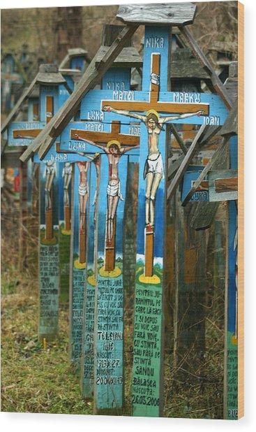 Crosses In An Orthodox Graveyard Wood Print