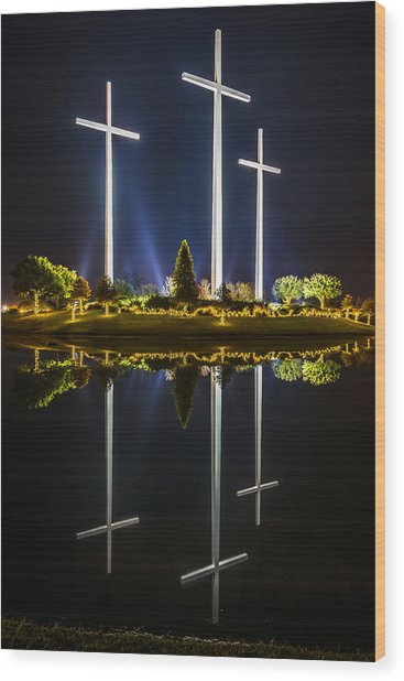 Crosses In Reflection Wood Print