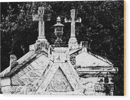 Crosses Of Metairie Cemetery Wood Print
