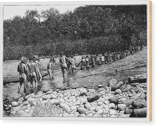 Crossing A River In Vietnam Wood Print by Science Photo Library