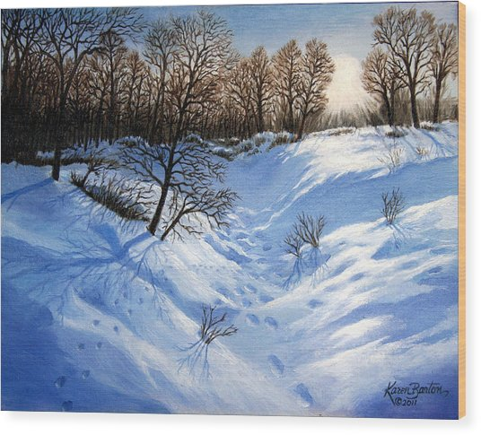 Crossing Paths Wood Print by Artist Karen Barton