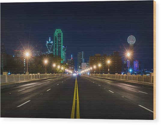 Crossing The Bridge To Downtown Dallas At Night Wood Print