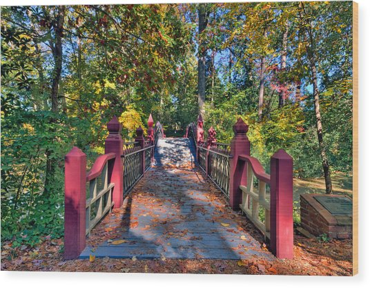 Crossing The Crim Dell Bridge Wood Print