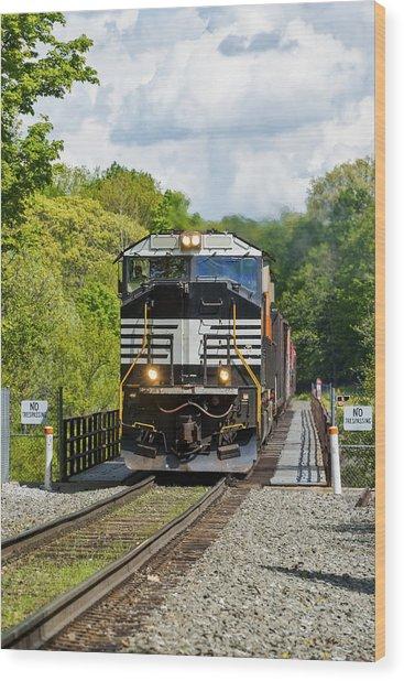 Crossing The Railroad Trestle Wood Print