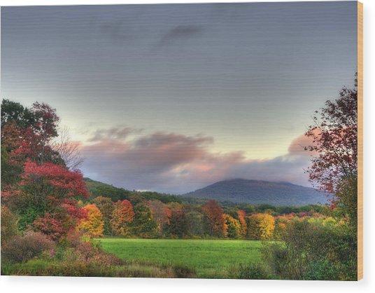 Crotched Mountain Autumn Sunset Wood Print by Joann Vitali
