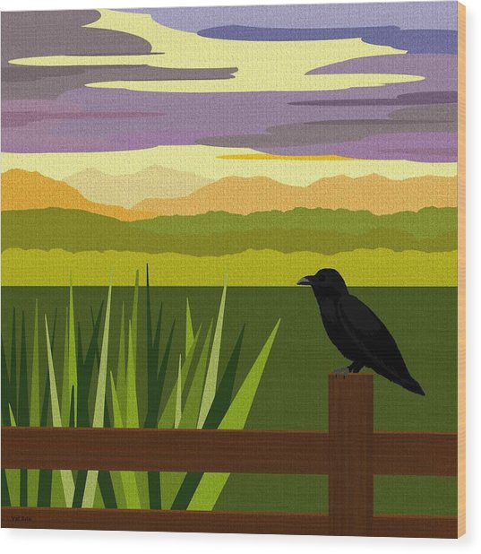 Crow In The Corn Field Wood Print