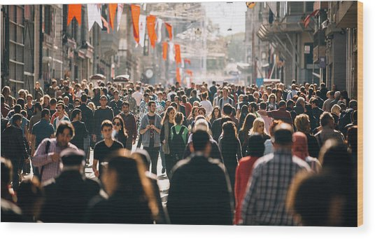 Crowded Istiklal Street In Istanbul Wood Print by Filadendron