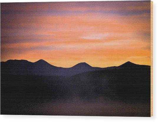 Crowley Lake Sunrise Wood Print by Sherri Meyer