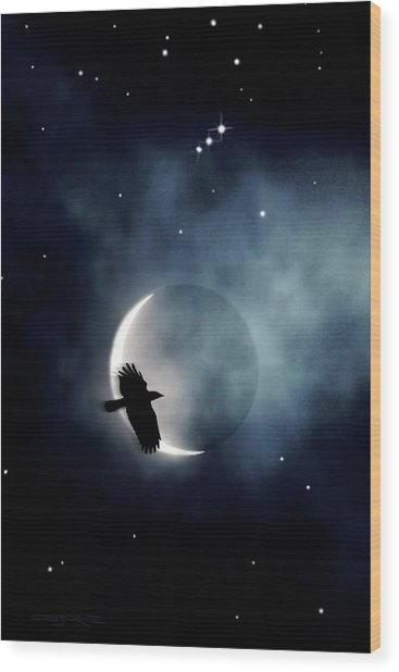 Crowmoon And Orion Wood Print
