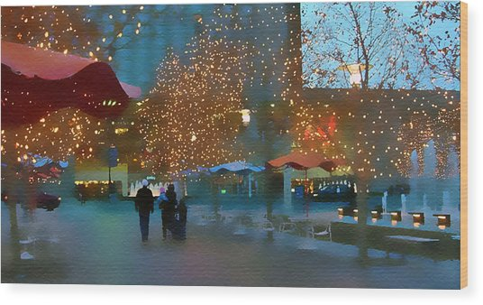 Crown Center Christmas Wood Print