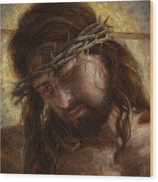 Crown Of Thorns Glass Mosaic Wood Print