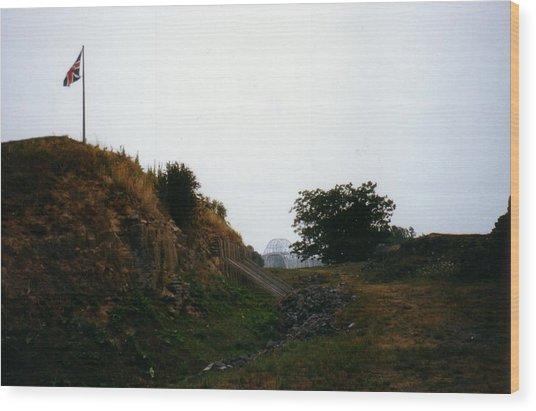 Crown Point Flag And Bridge Wood Print by David Fiske