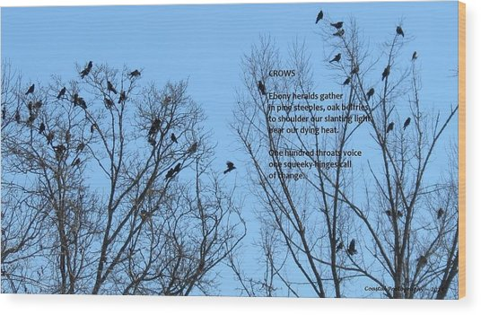 Crows Wood Print by Catherine Favole-Gruber