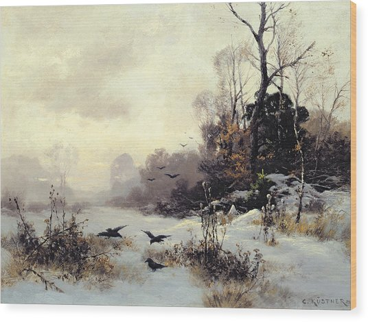 Crows In A Winter Landscape Wood Print