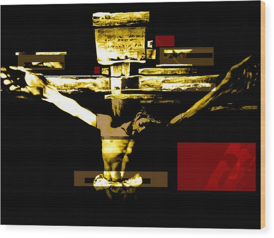 Crucifixion In Red Gold And Black Wood Print
