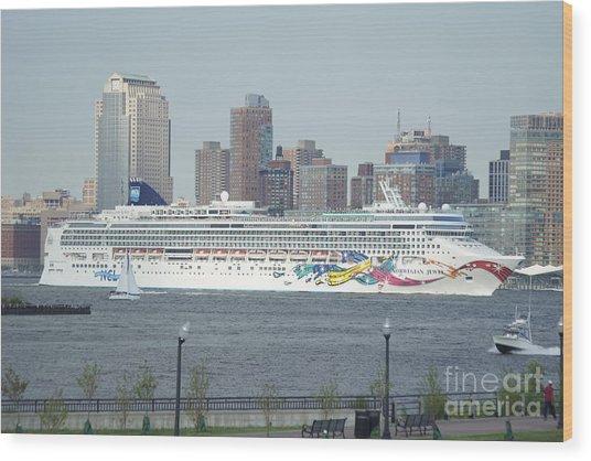 Cruise Ship On The Hudson Wood Print