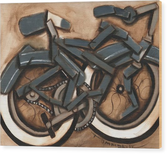 Abstract Blue Cruiser Bicycle Art Print Wood Print