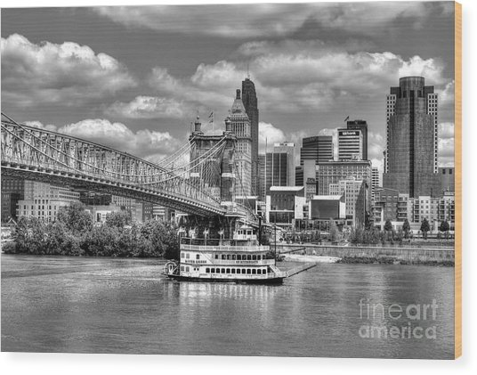 Wood Print featuring the photograph Cruising By Cincinnati 3 Bw by Mel Steinhauer