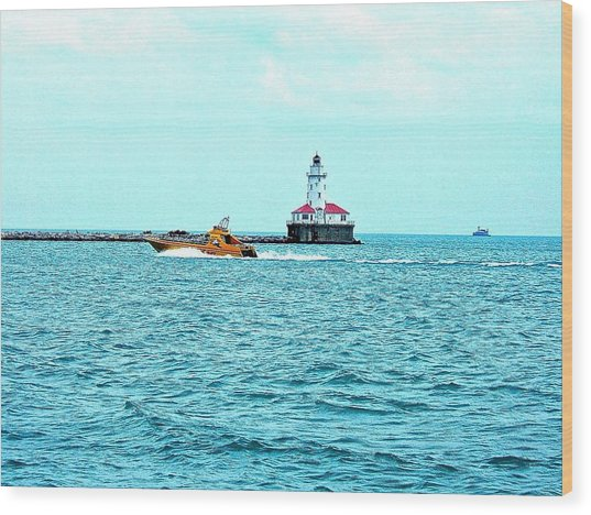 Cruising Chicago Lakefront Wood Print