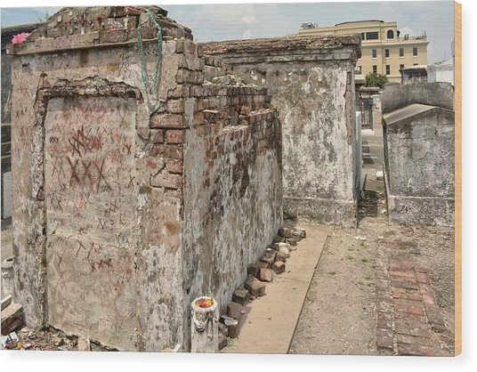 Crumbling Wishes At Saint Louis Cemetery Wood Print