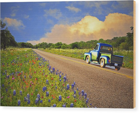 Crusin' The Hill Country In Spring Wood Print