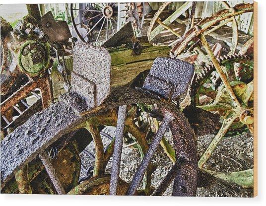 Crusty Rusty Tractor Wheels Wood Print by Robert Rus