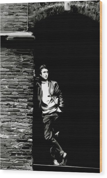 Cry For A Shadow John Lennon Wood Print by Iconic Images Art Gallery David Pucciarelli